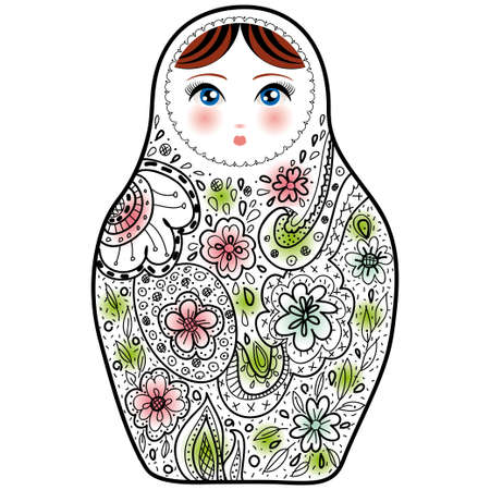 Russian doll matrioshka Babushka sketch on white background. vector