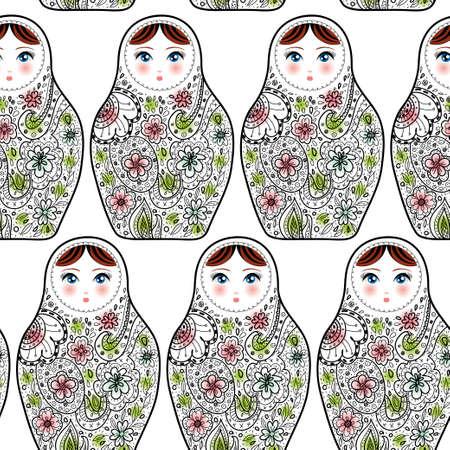 Pattern with the Russian dolls matrioshka Babushka on sketch white background. vector
