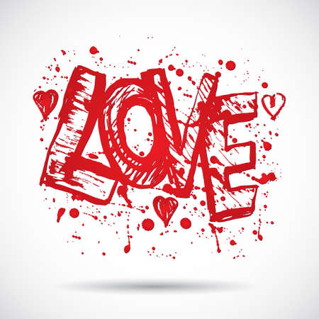 Grunge background with bright red heart. Love. Paint splash. Vector Vector
