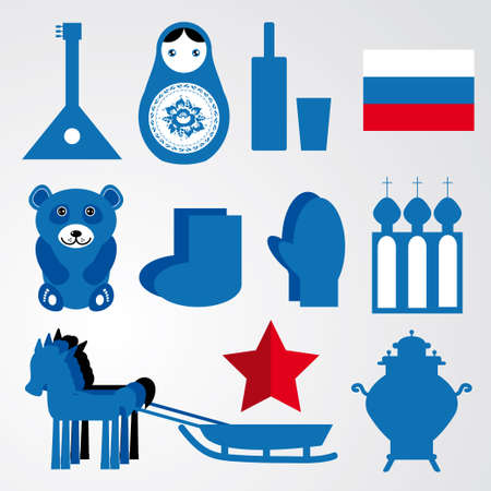 Travel set of various stylized russian icons black, blue, red illustration for you design . Vector Vector