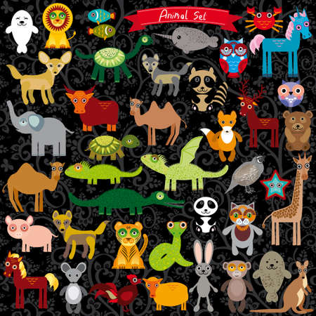 Set of funny cartoon animals character on  black background. zoo. vector illustration Vector