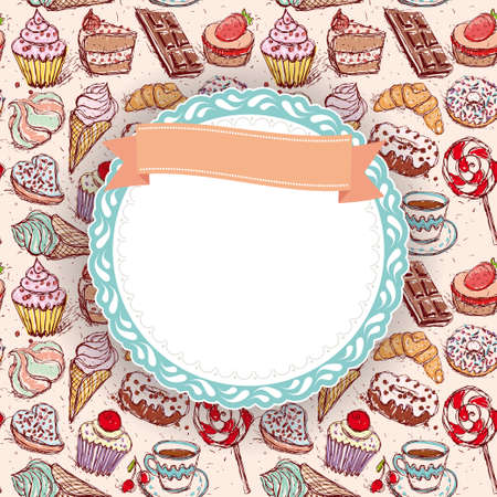 candy shop: Hand drawn confectionery seamless pattern croissant Cupcake candy marshmallow ice cream cake donut and coffee. doodle frame, ribbon. vector Illustration