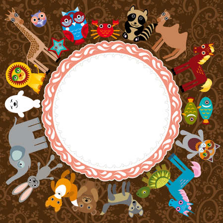 Set of funny cartoon animals character on a brown background frame for your text zoo vector Hand drawn confectionery seamless pattern croissant Cupcake candy marshmallow ice cream cake donut and coffee. doodle frame, ribbon. vector Vector