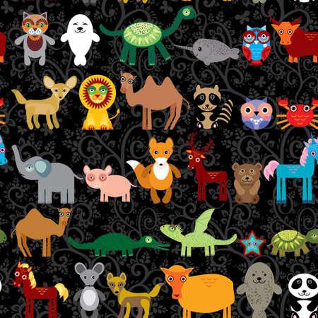 cangrejo caricatura: Conjunto de animales de dibujos animados divertido del personaje sobre fondo negro sin costuras. zool�gico. vector Vectores