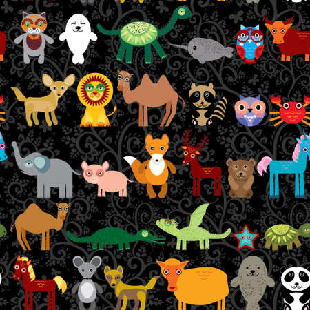 Set of funny cartoon animals character on  black seamless background. zoo. vector Vector