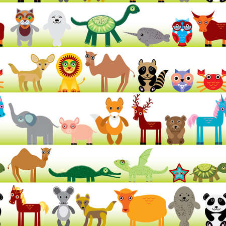 Set of funny cartoon animals character on  white seamless background. zoo. vector Vector