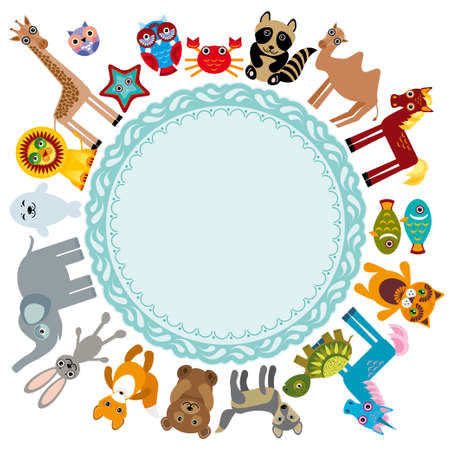 Set of funny cartoon animals character on a white background walking around globe. frame for your text. zoo. vector Vector