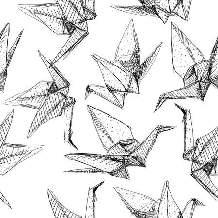 Origami paper cranes set sketch seamless pattern. The black line on white background.Vector Vector