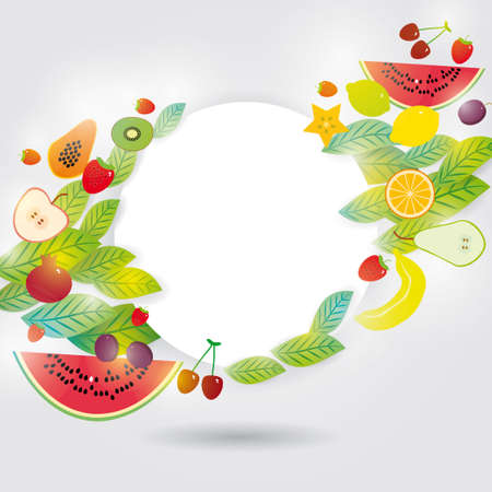 Healthy lifestyle. Set of fruits on the white background. Frame for your text. Vector Vector