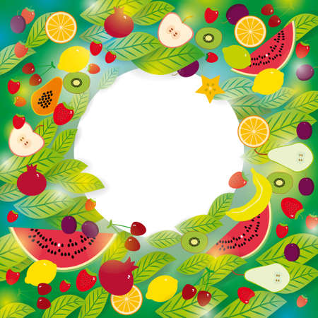 Healthy lifestyle. Set of fruits and leaves on the green background Frame for your text. Vector Vector