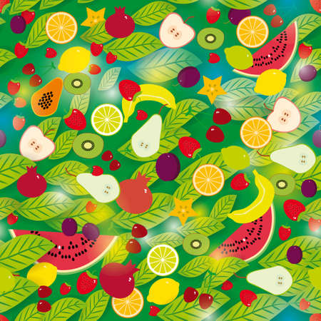 Healthy lifestyle. Fruits and leaves on the green background seamless pattern. Vector. Vector