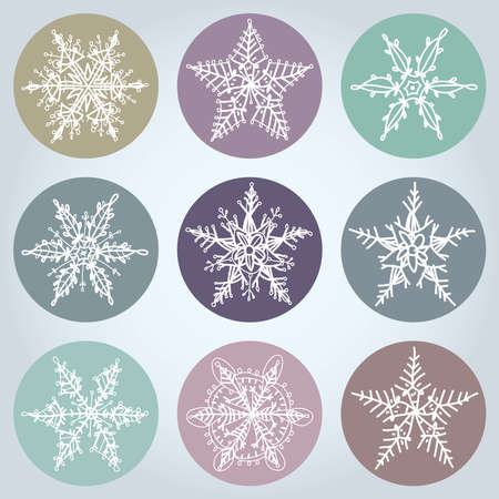 Snowflake winter set icon collection. Vector illustration Vector