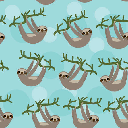 Seamless pattern Three-toed sloth on green branch on blue background. Vector