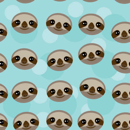 Seamless pattern Three-toed sloth muzzle on blue background.