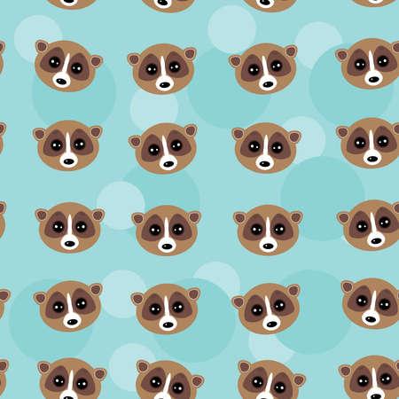 nocturnal animal: Seamless pattern lemur muzzle on blue background. Illustration