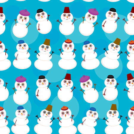 Seamless pattern cute cartoon snowmen on blue background Vector