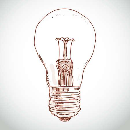 アイデア電球ホワイト バック グラウンドにスケッチします。創造性、思考  イラスト・ベクター素材