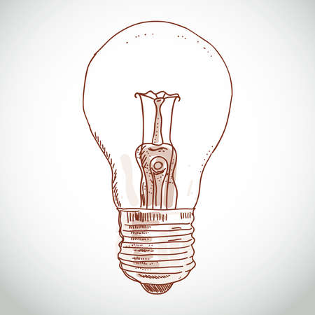 idea lightbulb sketch on white background. creativity, thinking Ilustração
