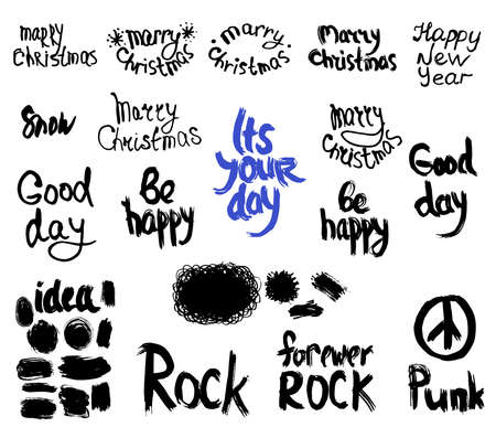 set of words and labels freehand drawing, grunge sketch for your design. Illustration