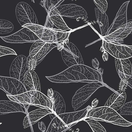 Leaves contours on black background. floral seamless pattern, hand-drawn.