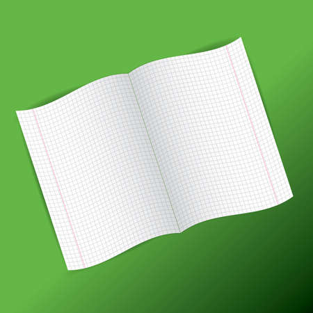 checkered notebook paper on  green background. vector illustration Vector