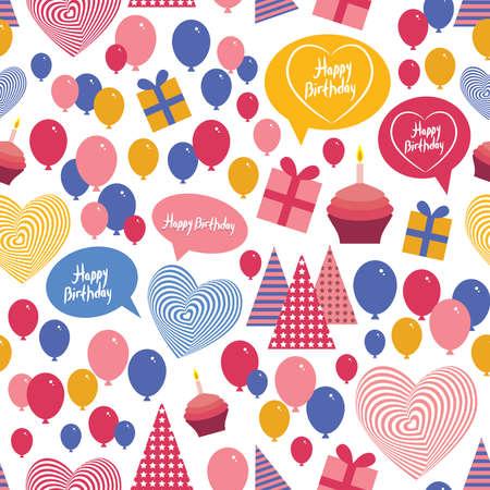Seamless background - happy birthday Heart, gift box, balloons, cake, hat Blue, pink, orange. vector Vector
