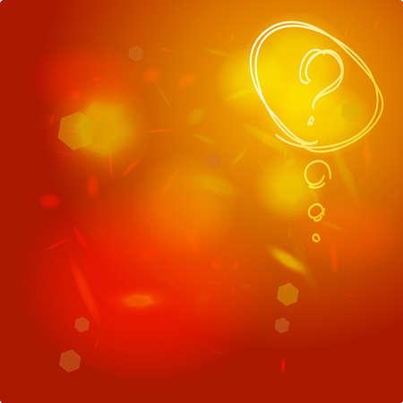 疑問符アイコンのスケッチ。シンボルを助けます。よくあるご質問は抽象的な背景が赤オレンジにサインオンします。