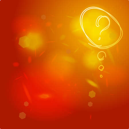 Question mark icon sketch. Help symbol. FAQ sign on orange red abstract background. Ilustração