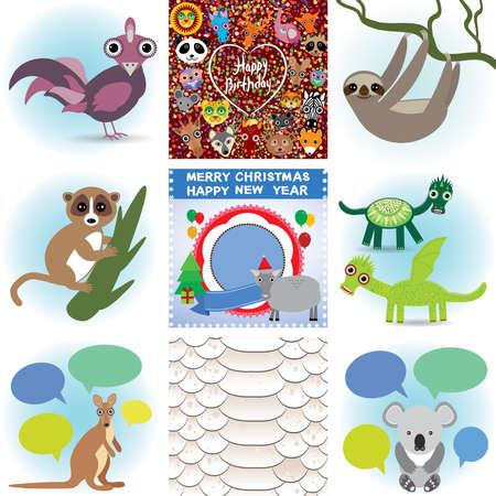 funny animal: Conjunto de animales divertidos. Feliz cumplea�os y A�o Nuevo. Seamless serpiente fondo.