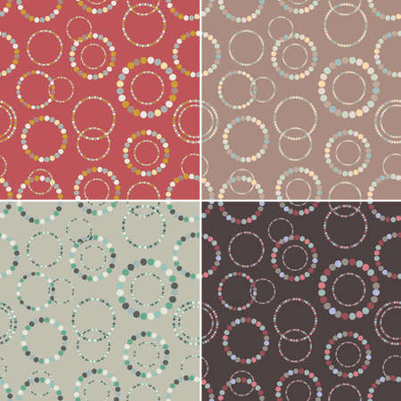 Seamless pattern set. Stylish texture with rings. Vector