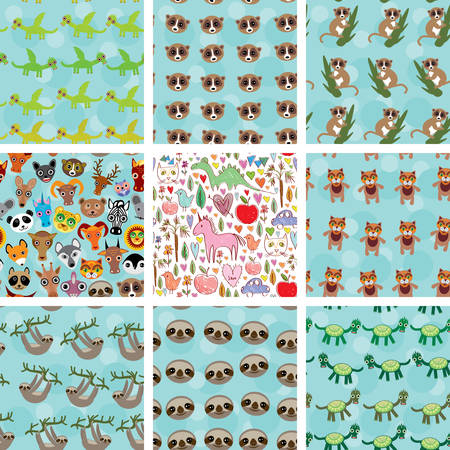 arboreal: Set of 9 seamless pattern with funny animals on  blue background. Illustration