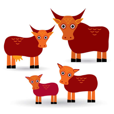 two animals: Cow, bull and two calves. Set of funny animals with cubs on white background.