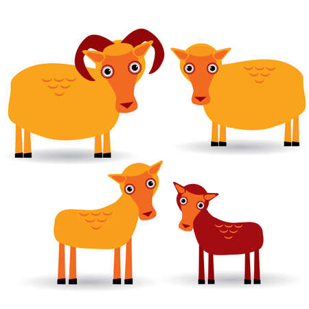 ewe: Ram, ewe and lamb. Set of funny animals with cubs on white background.