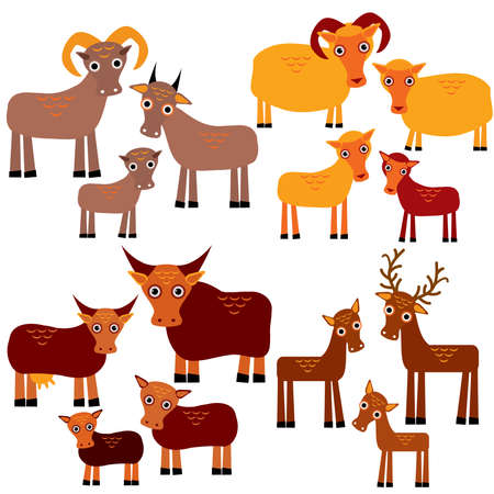 Set of funny animals with cubs. Goats sheep cows deer on a white background. Vector