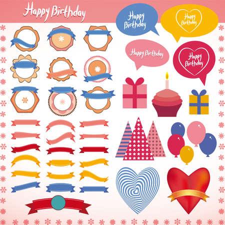 Ensemble d'éléments d'époque, fête d'anniversaire de vacances Rose, bleu, orange.