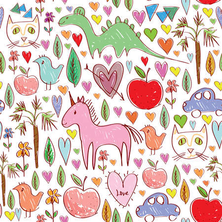 Girls birthday pink seamless pattern with animals and hearts.