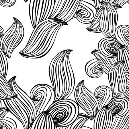 hair styles: seamless pattern wave background black and white. vector ornament