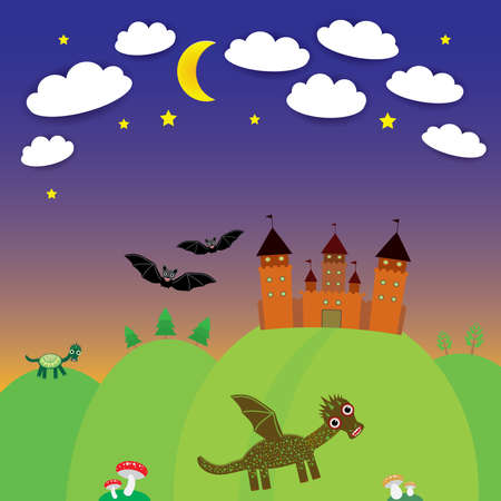landscape with castle wizard, Cartoon Dragon, bats. Night. vector illustration Vector