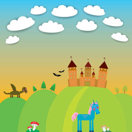 Card. landscape with castle wizard, Cartoon Dragon, Unicorn, bats. vector illustration Vector