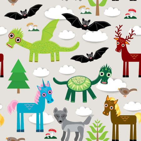 Seamless pattern with funny dragon bats unicorn horse deer bird wolf vector illustration