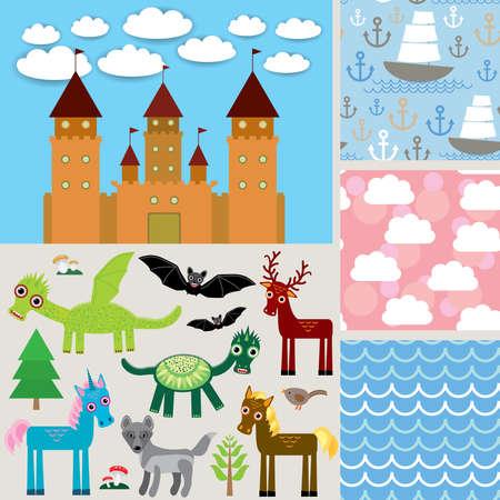 Set 3 seamless background. Castle,  Fabulous animals. vector illustration Vector