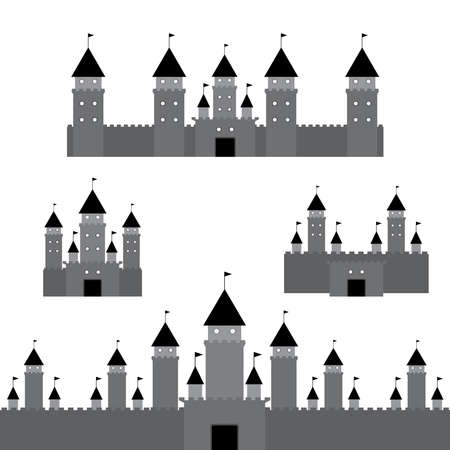 black castle on white background. Vector  illustration Vector