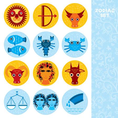 astrologer: Funny blue and orange zodiac sign icon set astrological, vector astrology Illustration