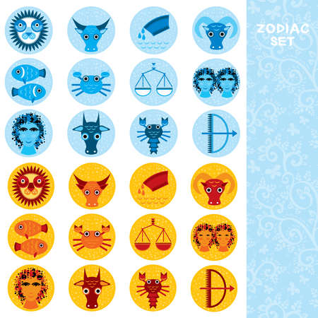 Two sets of Funny blue and orange zodiac sign icon astrological, vector astrology Vector