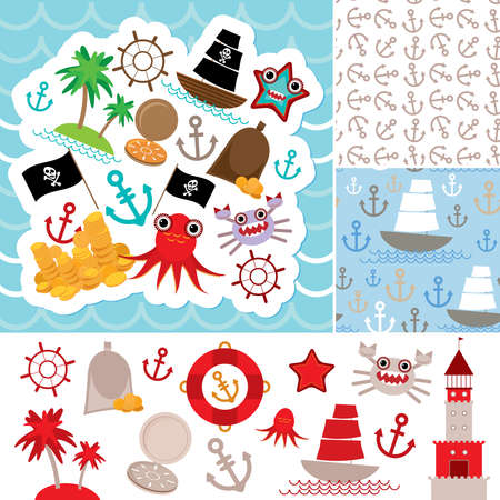 Vintage scrap nautical card and seamless pattern with sea animals, boats pirates. cute sea objects collection. Vector illustration Vector