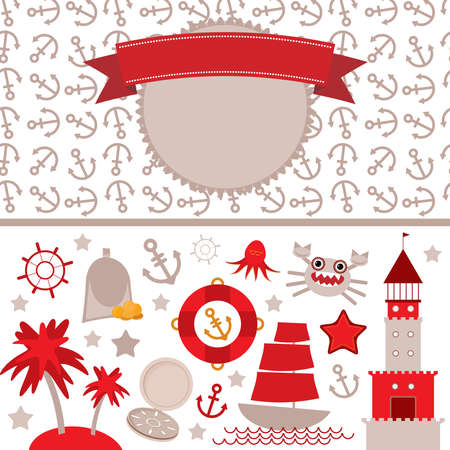scrap: cute sea objects collection. Vintage scrap nautical card with frame, anchor pattern and sea animals, boats pirates. Vector illustration Illustration