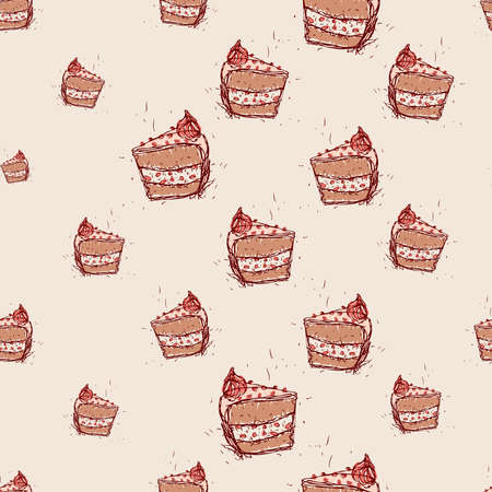 piece of cake: piece of chocolate cake Hand drawn sketch on pink background seamless pattern vector