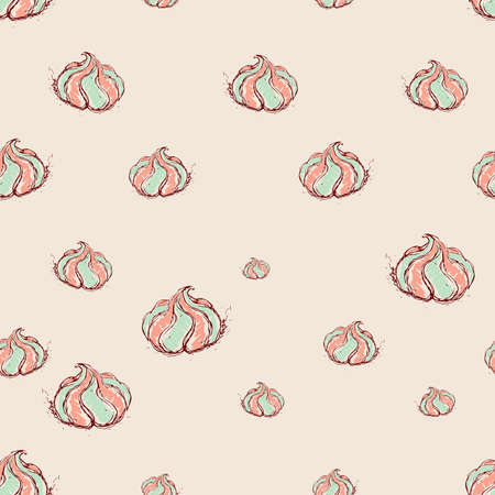liquorice: meringue dessert Hand drawn sketch on pink background seamless pattern vector