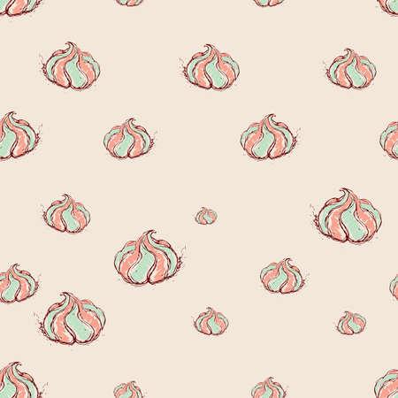 meringue dessert Hand drawn sketch on pink background seamless pattern vector