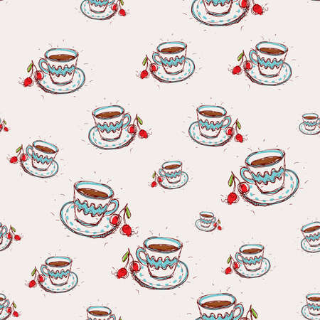 Cup of coffee and cherry Hand drawn sketch on pink background seamless pattern vector Vector